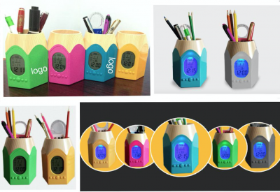 Pen Holder With Digital Clock, Led Light Clock With Pen Holder